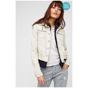 Free People Double Weave Denim Jacket Distressed
